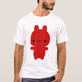 T-shirt Pièce en t potelée rouge de noir de lapin (femmes)
