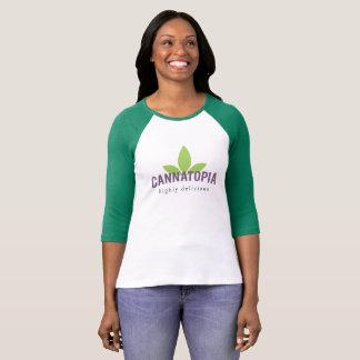 T-shirt Pièce en t raglane de logo de Cannatopia des