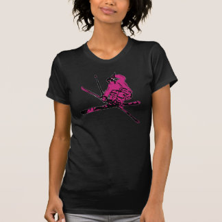 T-shirt Pièce en t razberry noire rose de thème de skieur