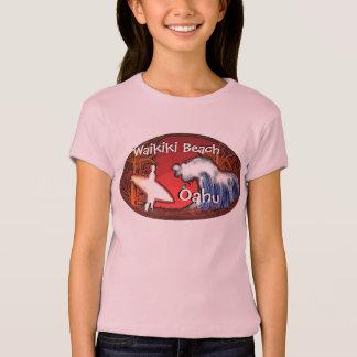T-shirt Pièce en t rose de surfer de filles d'Oahu Hawaï