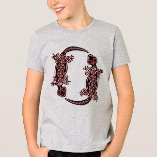 T-shirt Pièce en t rouge de totem de Geckos d'enfants