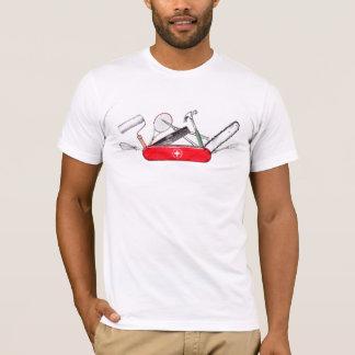 T-shirt Pièce en t suisse rouge de couteau militaire
