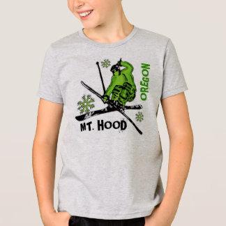 T-shirt Pièce en t verte de garçons de skieur de l'Orégon