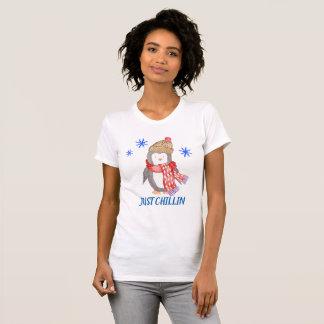 """T-shirt Pingouin """"JUSTE CHILLIN """" de flocon de neige"""