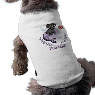 T-shirt Pitbull 2 de sirène avec le nom d'animal familier