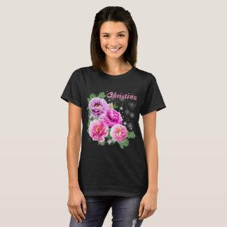 T-shirt Pivoines pourpres de rose doux de fleurs avec des