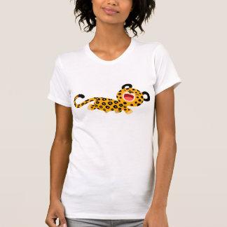 T-shirt plaisant de femmes de léopard de bande