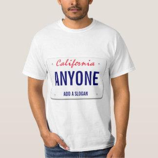 T-shirt Plaque minéralogique faite sur commande de la