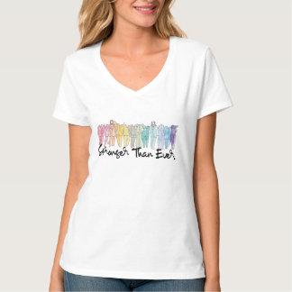 T-shirt Plus fortement que jamais pièce en t du V-Cou des