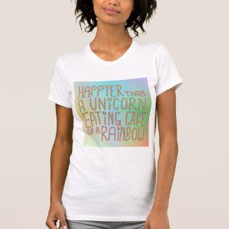 T-shirt Plus heureuse qu'une licorne mangeant le gâteau