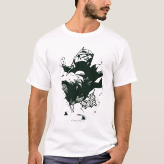 T-shirt Pochoir noir et blanc de Batman de graffiti