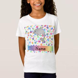 T-Shirt Pois nommé personnalisé d'arc-en-ciel de dauphin