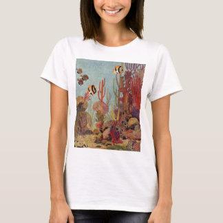 T-shirt Poissons vintages dans l'océan, scalaire de corail