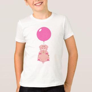 T-shirt Porc et ballon mignons de vol