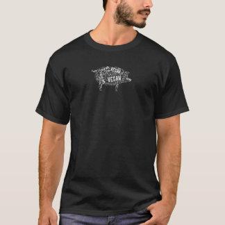 """T-shirt Porc """"végétalien"""" de Mot-Nuage avec la citation"""