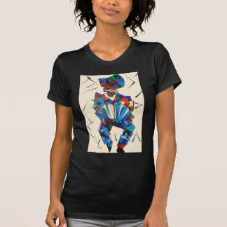 T-shirt Portrait cubiste de joueur d'Accordian d'isolement