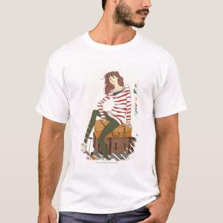 T-shirt Portrait de jeune femme se reposant sur la valise