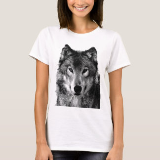 T-shirt Portrait de loup noir et blanc