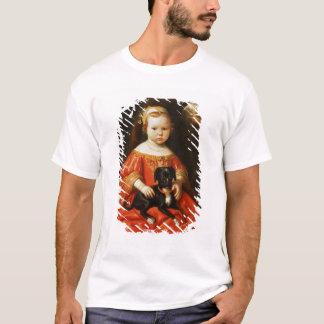 T-shirt Portrait d'une fille avec un chien