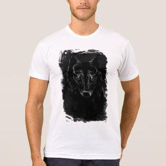 T-shirt Portrait noir de loup sur la grunge BG