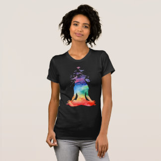 T-shirt Pose abstraite de yoga de Lotus (esprit libre)