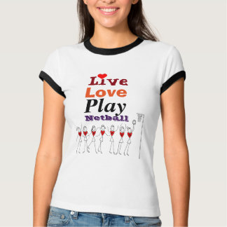 T-shirt Positions vivantes de net-ball de jeu d'amour