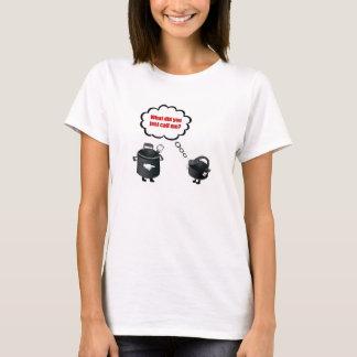 T-shirt Pot appelle le noir de bouilloire