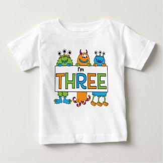 T-shirt Pour Bébé 3ème Pièce en t de monstre d'anniversaire