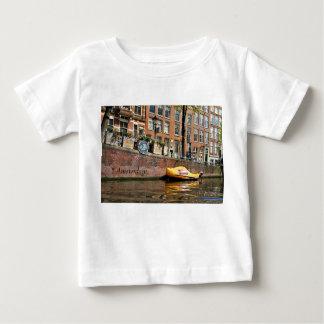 T-shirt Pour Bébé Amsterdam, canal, bateau en bois de chaussure