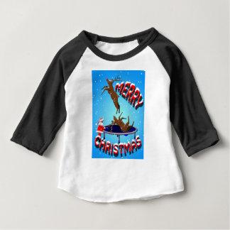 T-shirt Pour Bébé amusement de Noël de renne avec père Noël