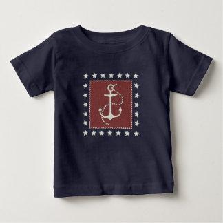 T-shirt Pour Bébé Ancre côtière de l'art | sur le rouge