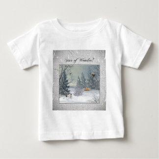 T-shirt Pour Bébé Animaux dans la forêt d'hiver, arbre avec