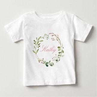 T-shirt Pour Bébé Aquarelle nommée faite sur commande Wreath-01