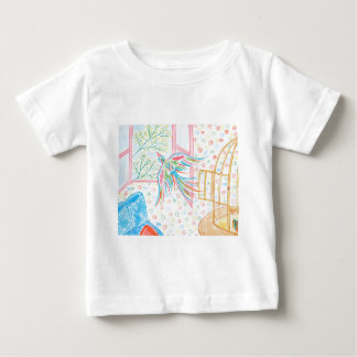 """T-shirt Pour Bébé Aquarelle """"ouvrez la cage aux oiseaux"""""""