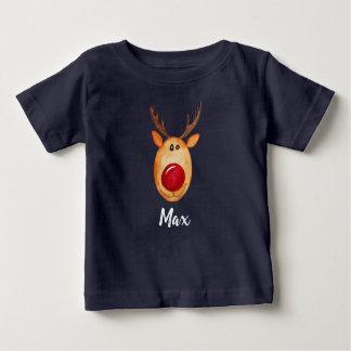 T-shirt Pour Bébé Aquarelle Rudolph de Noël du bébé avec le nom