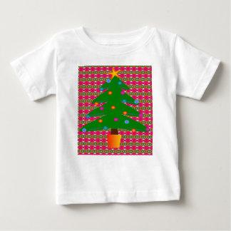 T-shirt Pour Bébé Arbre de Noël avec l'arrière - plan modelé