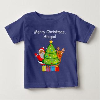 T-shirt Pour Bébé Arbre de Noël avec un père noël et Rudolph noirs,