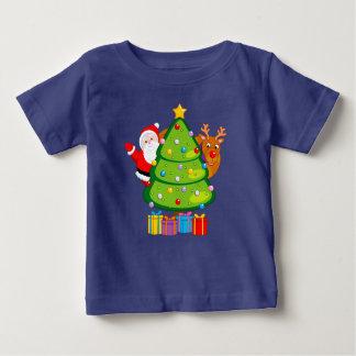 T-shirt Pour Bébé Arbre de Noël d'amusement avec le père noël et