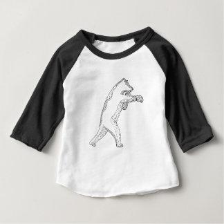 T-shirt Pour Bébé Art de boxe de griffonnage d'ours gris