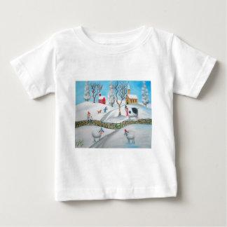 T-shirt Pour Bébé art populaire naïf de scène de neige d'hiver de