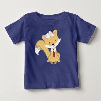 T-shirt Pour Bébé Beau Fox mignon de bébé avec l'illustration rouge