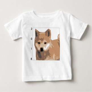 T-shirt Pour Bébé Bébé 2018 d'année de chien d'illustration de Shiba