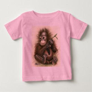 T-shirt Pour Bébé Bébé d'orang-outan avec le feuille