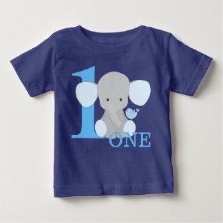 T-shirt Pour Bébé Bleu d'éléphant de safari un premier garçon