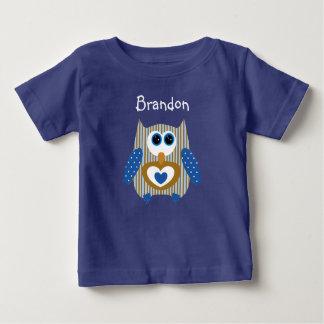 T-shirt Pour Bébé Bleu et chemise personnalisés de bébé de hibou de