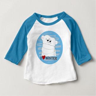 T-shirt Pour Bébé Bleu mignon polaire de neige d'étreinte d'hiver