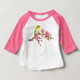 T-shirt Pour Bébé Branche jaune de fleurs de cerisier d'oiseau