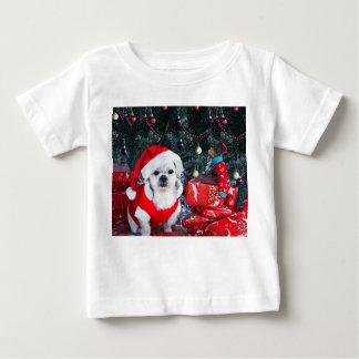 T-shirt Pour Bébé Caniche père Noël - chien de Noël - chien du père