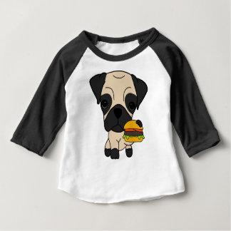 T-shirt Pour Bébé Carlin mignon mangeant un hamburger