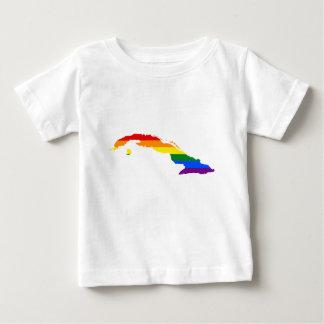 T-shirt Pour Bébé Carte de drapeau du Cuba LGBT